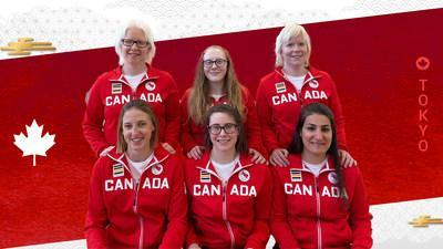 The Tokyo 2020 Canadian Paralympic goalball team. Clockwise from top left: Amy Burk, Brieann Baldock, Whitney Bogart, Maryam Salehizadeh, Emma Reinke, Meghan Mahon. (CNW Group/Canadian Paralympic Committee (Sponsorships))