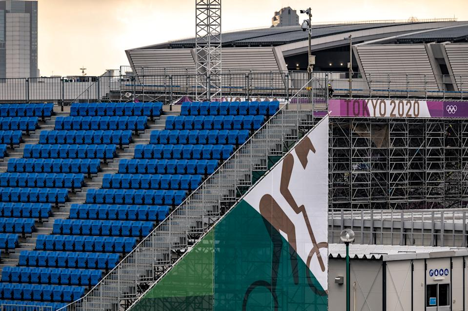 A general view shows the Ariake Urban Sports Park, the main venue for cycling BMX freestyle, cycling BMX racing and skateboarding during the Tokyo 2020 Olympic games, 30 days before the Olympic Games opening ceremonies, in Tokyo on June 23, 2021. (Photo by Philip FONG / AFP) (Photo by PHILIP FONG/AFP via Getty Images)
