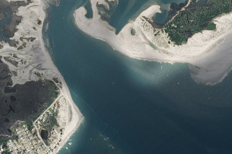 A 2014 image shows a spit that disappeared in the storm (National Oceanic and Atmospheric Administration)
