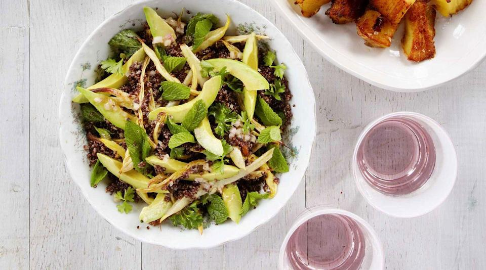 """<p>This fresh summer salad adds a burst of green to any plate.<br></p><p><strong><a href=""""https://www.countryliving.com/food-drinks/recipes/a38512/roasted-wax-bean-avocado-crispy-quinoa-salad-recipe/"""" rel=""""nofollow noopener"""" target=""""_blank"""" data-ylk=""""slk:Get the recipe"""" class=""""link rapid-noclick-resp"""">Get the recipe</a>.</strong></p>"""
