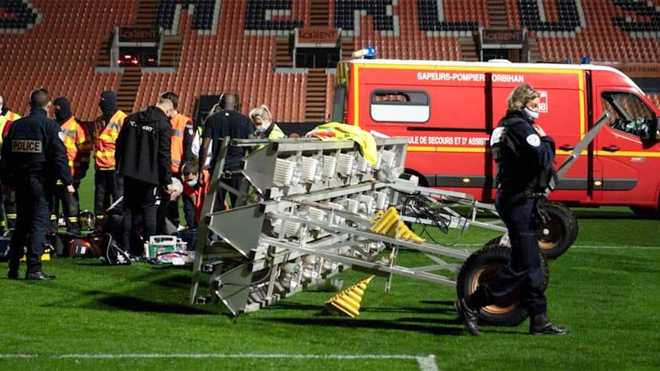 Pictured here, the scene of a devastating tragedy that left a volunteer groundsman dead in France.
