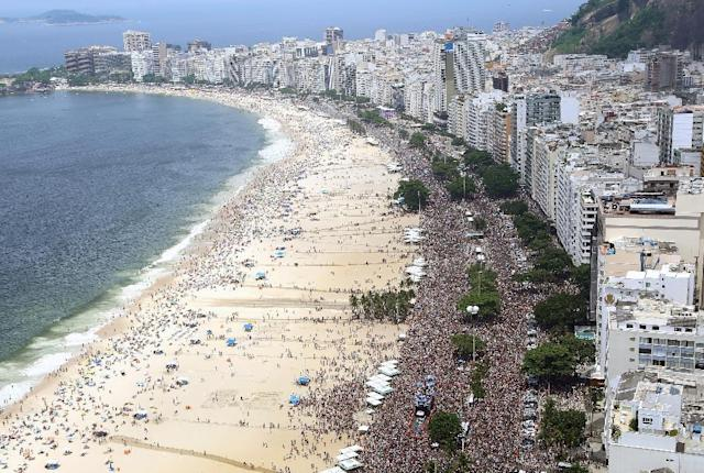 Copacabana beach is a world famous tourist attraction and a knife attack took place just across the road from several large hotels (AFP Photo/Fernando Maia)