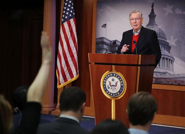 """Senate Majority Leader Mitch McConnell told reporters, """"The Russians are not our friends"""" (AFP Photo/MARK WILSON)"""