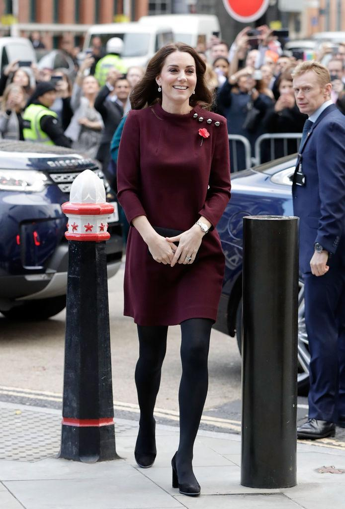 "<p>On 8 November 2017, Kate Middleton attended the Place2Be School Leader's Forum in London wearing a plum-hued tunic dress by <a rel=""nofollow noopener"" href=""http://www.goatfashion.com/eloise-dress-plum"" target=""_blank"" data-ylk=""slk:Goat"" class=""link rapid-noclick-resp"">Goat</a>.<br>The £480 number sold out in just two days. <em>[Photo: Getty]</em> </p>"