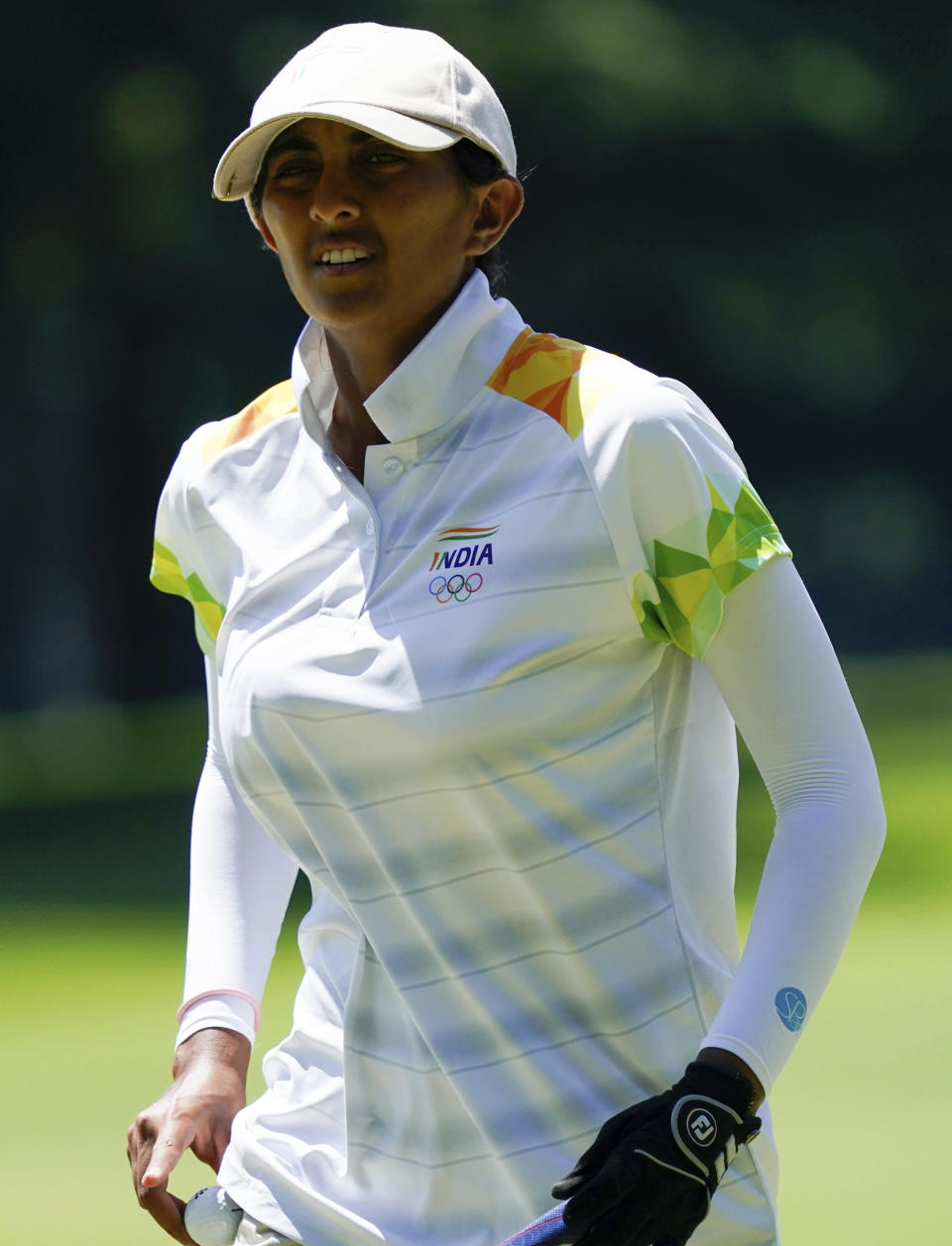 Aditi Ashok, of India, walks on the 13th hole during the second round of the women's golf event at the 2020 Summer Olympics, Thursday, Aug. 5, 2021, at the Kasumigaseki Country Club in Kawagoe, Japan. (AP Photo/Matt York)