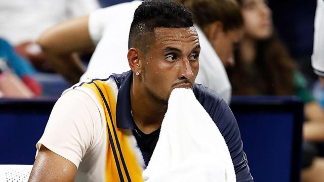 Chair umpire Mohamed Lahyani is accused of giving Nick Kyrgios, above, an in-match pep talk on Thursday. (Getty)