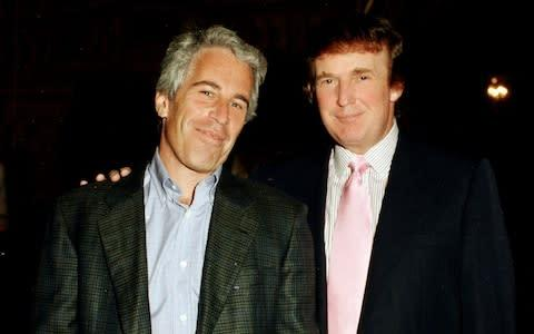 <span>Jeffrey Epstein and Donald Trump, pictured at Mar-a-Lago in 1997</span>