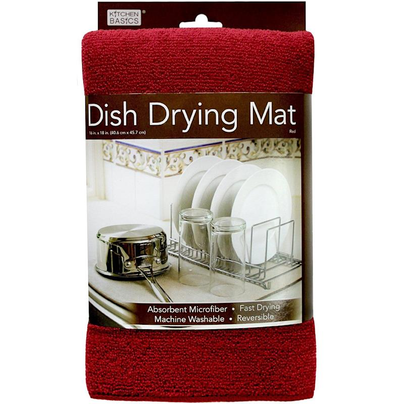 "<a href=""https://www.amazon.com/Kitchen-Basics-Dish-Drying-Mat/dp/B00M3ZYZOW/"" target=""_blank"">Keep it under your dish-drying rack</a> to absorb drips."