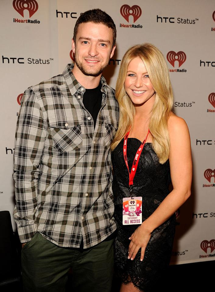 "Justin Timberlake and former ""Dancing with the Stars"" pro Julianne Hough flashed their pearly whites backstage at the iHeartRadio Music Festival in Las Vegas on Saturday. Kevin Mazur/<a href=""http://www.wireimage.com"" target=""new"">WireImage.com</a> - September 24, 2011"