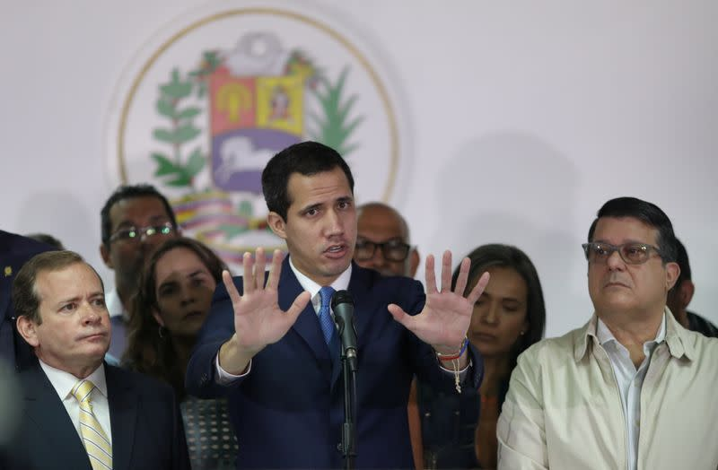 Venezuelan opposition leader Juan Guaido, who many nations have recognised as the country's rightful interim ruler, holds a news conference in Caracas