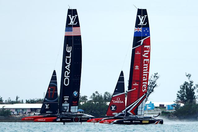 Sailing - America's Cup finals - Hamilton, Bermuda - June 24, 2017 - Oracle Team USA leads Emirates Team New Zealand off the start line in race six of America's Cup finals . REUTERS/Mike Segar