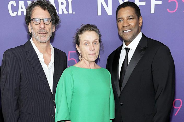 Joel Coen, Frances McDormand and Denzel Washington attend the The Macbeth Tragedy opening night screening at the 59th New York Film Festival at Alice Tully Hall, Lincoln Center on September 24, 2021 in New York City.