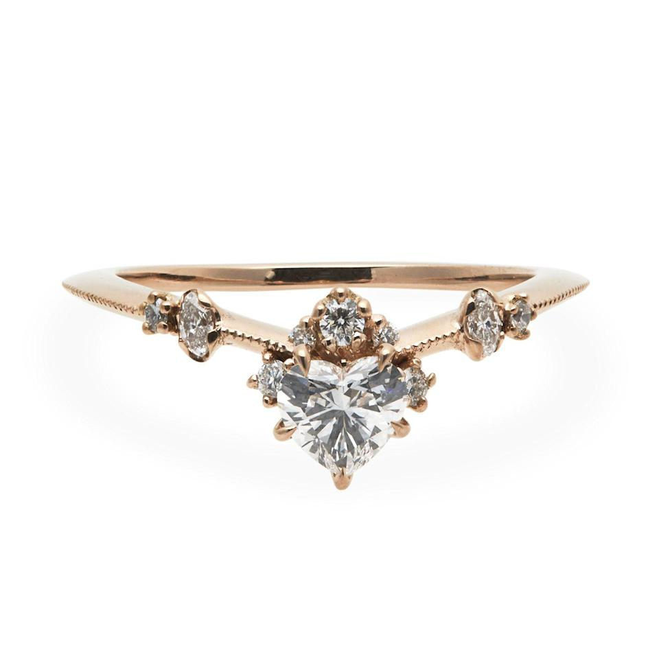 """Best of all, the unique curved shape of nesting rings even look good alone. $5780, Catbird. <a href=""""https://www.catbirdnyc.com/curved-bleeding-heart-ring-1824.html"""" rel=""""nofollow noopener"""" target=""""_blank"""" data-ylk=""""slk:Get it now!"""" class=""""link rapid-noclick-resp"""">Get it now!</a>"""