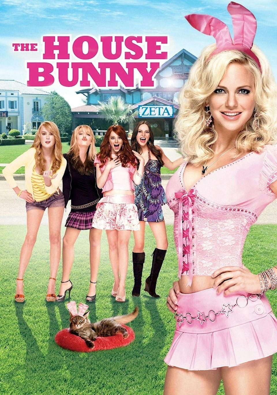 """<p>After turning 27 years old, a Playboy Bunny (<strong>Anna Faris</strong>) gets kicked out of Hugh Hefner's mansion. Her last resort is joining a sorority and becoming a house mother, helping the sisters get boys. Naturally, all sorts of hilarious fun and chaos erupts as a result.</p><p><a class=""""link rapid-noclick-resp"""" href=""""https://www.amazon.com/House-Bunny-Anna-Faris/dp/B001NZHJGO/ref=sr_1_2?dchild=1&keywords=THE+HOUSE+BUNNY&qid=1596922922&sr=8-2&tag=syn-yahoo-20&ascsubtag=%5Bartid%7C10055.g.33513354%5Bsrc%7Cyahoo-us"""" rel=""""nofollow noopener"""" target=""""_blank"""" data-ylk=""""slk:WATCH NOW"""">WATCH NOW</a></p>"""