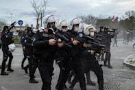 Turkish riot police face off with demonstrators during a protest against Turkish President's appointment of a party loyalist to head Istanbul's exclusive Bogazici University a month ago.