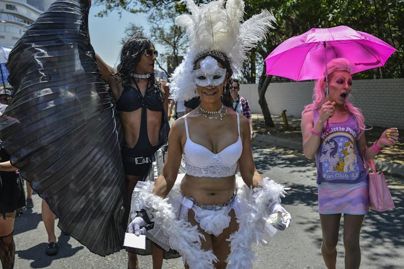 A gay pride parade in South Africa. Gays are persecuted elsewhere on the continent