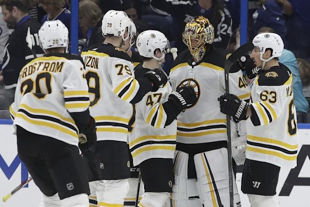 "The Boston Bruins were formally recognized Thursday as the winners of the Presidents' Trophy for the 2019-20 season. <span class=""copyright"">(Chris O'Meara / Associated Press)</span>"