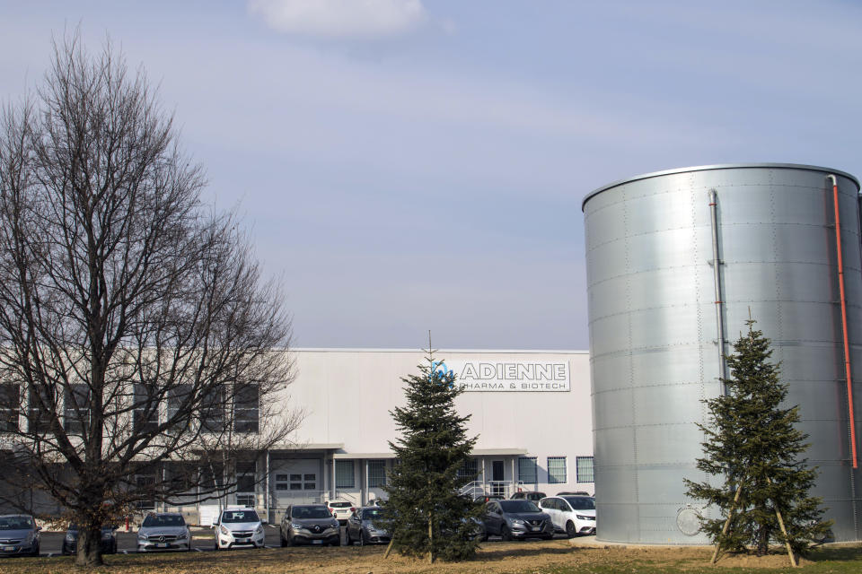 A view of the Adienne Srl plant pharmaceutical company in Caponago, near Milan, Italy, Tuesday, March 9, 2021. Russia signed a deal to produce 10 million doses of the Sputnik V coronavirus vaccine in Italy this year. The deal was announced by the Italian-Russian chamber of commerce and signed by Adienne Srl, the Italian subsidiary of a Swiss-based pharmaceutical company and the Russian Direct Investment Fund. (AP Photo/Alberto Pellaschiar)