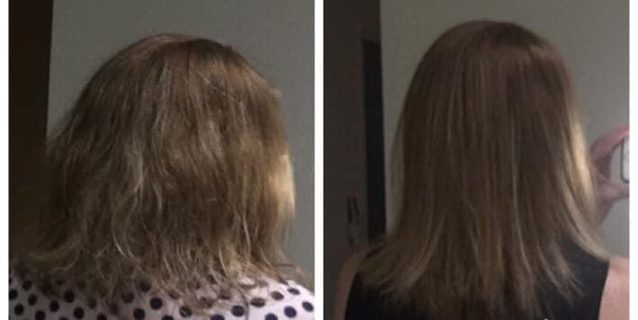 A photo comparison of a woman's hair before and after using a $19 Kmart hair straightening brush.