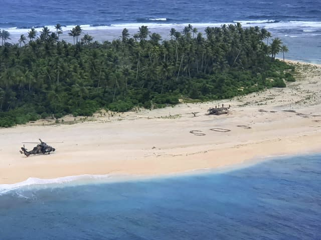 An Australian Army helicopter lands on Pikelot Island in the Federated States of Micronesia