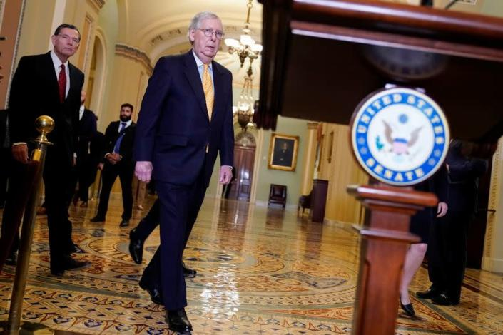 Senate Minority Leader Mitch McConnell (R-KY) speaks on Capitol Hill in Washington