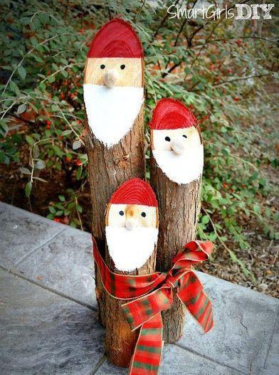 """<p>Recently trim a tree? Don't throw all of the logs into the fireplace. The smooth side of medium-sized branches make them easy to work with for holiday crafts. All you have to do is give the ends Santa faces and then use a ribbon to tie all three logs together to create adorable décor to sit by your front door.</p><p><em><a href=""""http://smartgirlsdiy.com/2013/12/danish-nisse-logs-christmas-craft/"""" rel=""""nofollow noopener"""" target=""""_blank"""" data-ylk=""""slk:Get the tutorial at Smart Girls DIY »"""" class=""""link rapid-noclick-resp"""">Get the tutorial at Smart Girls DIY »</a></em></p>"""