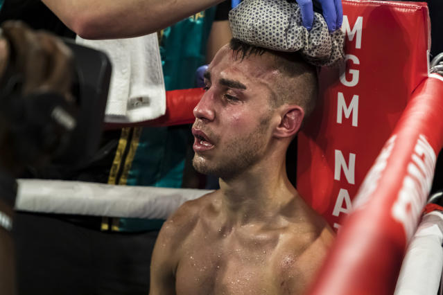 Maxim Dadashev threw in the towel following the 11th round of his junior welterweight IBF World Title Elimination fight against Subriel Matias. (Photo by Scott Taetsch/Getty Images)
