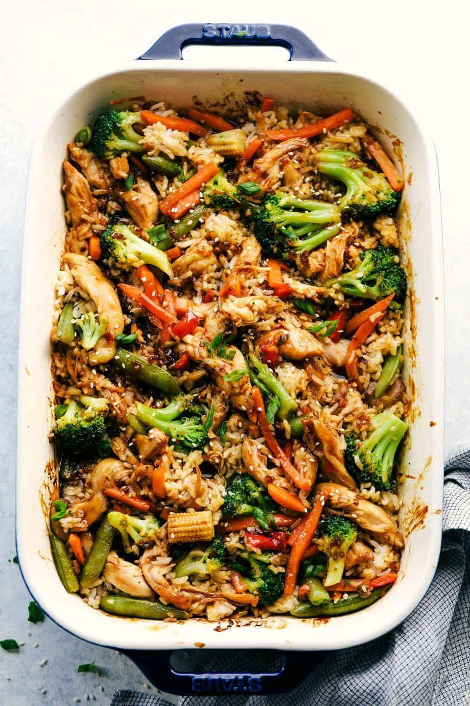 """<p>Cook up your favorite teriyaki chicken stir-fry right in one pan to save yourself a mess.</p><p><strong>Get the recipe at <a href=""""https://therecipecritic.com/teriyaki-chicken-casserole/"""" rel=""""nofollow noopener"""" target=""""_blank"""" data-ylk=""""slk:The Recipe Critic"""" class=""""link rapid-noclick-resp"""">The Recipe Critic</a>.</strong> </p>"""