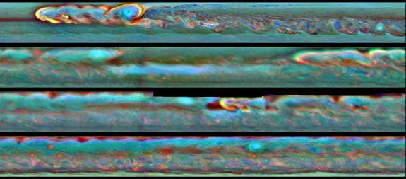 This set of images from NASA's Cassini mission shows the evolution of a massive thunder-and-lightning storm that circled all the way around Saturn and fizzled when it ran into its own tail. The storm was first detected on Dec. 5, 2010. Image re