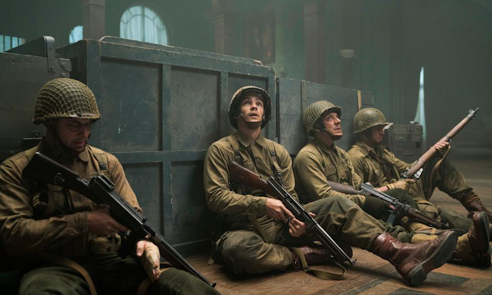 "Skylar Astin (far left), Brenton Thwaite, Theo Rossi and Alan Ritchson star as Army soldiers holed up in a spooky French house formerly occupied by Nazis in the horror film ""Ghosts of War."""