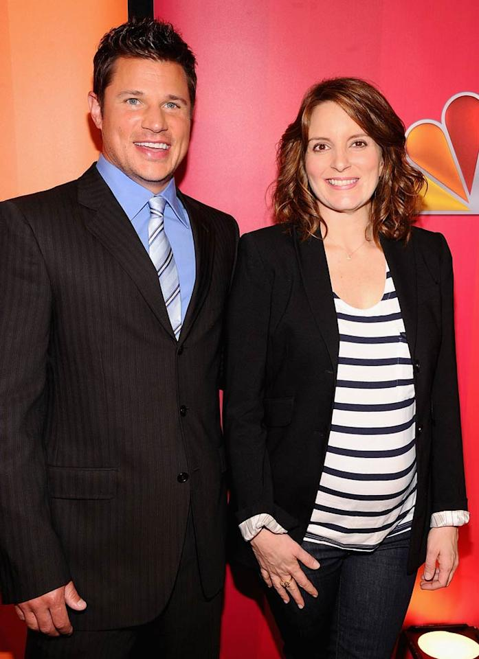 """The Sing-Off"" host Nick Lachey joined expectant ""30 Rock"" star Tina Fey on the red carpet. Maybe they'll collaborate on a crossover episode this season! We'd love to see Tina and Alec Baldwin sing a tune ... Jamie McCarthy/<a href=""http://www.wireimage.com"" target=""new"">WireImage.com</a> - May 16, 2011"