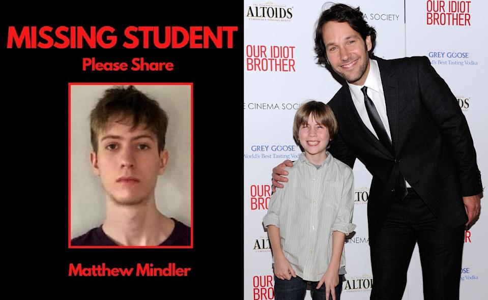 Poster about the disappearance of Matthew Mindler, who já  starred with Paul Rudd (photo à right) in the film
