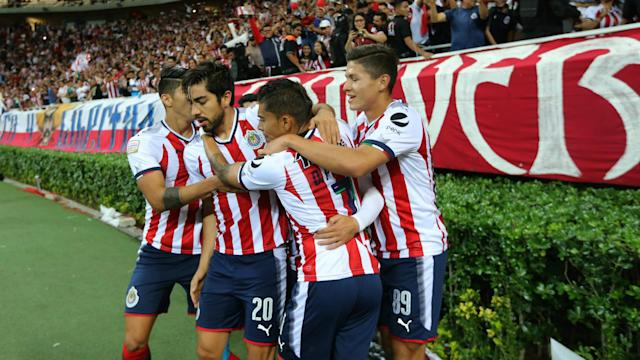 Isaac Brizuela's first-half goal was all that separated Guadalajara and New York Red Bulls in a feisty clash in Mexico on Wednesday.