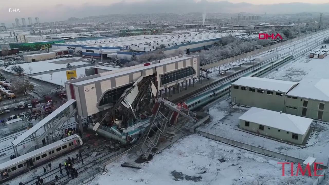 A high-speed train hit a railway engine and crashed into a pedestrian overpass at a station in the Turkish capital Ankara on Thursday, killing four people and injuring 43 others, officials and news reports said.