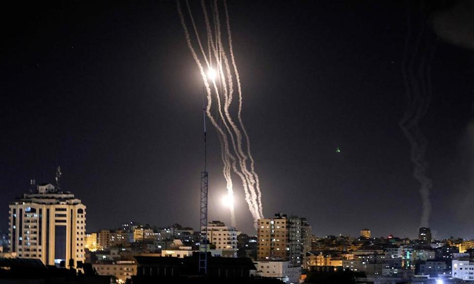 Rockets are launched towards Israel from Gaza City.