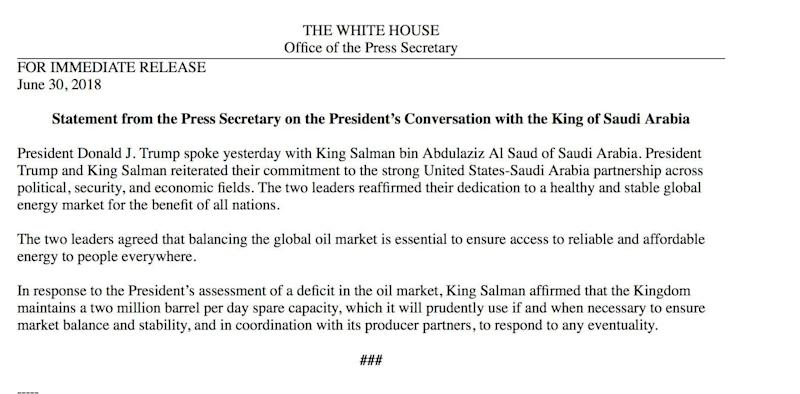 (White House press statement)