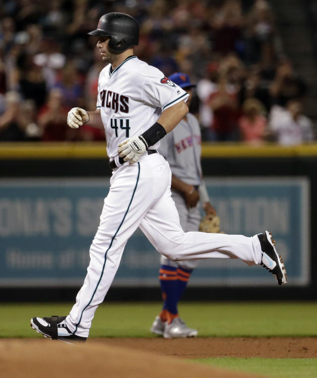 Arizona Diamondbacks' Paul Goldschmidt rounds the bases after hitting a solo home run against the New York Mets during the first inning of a baseball game Friday, June 15, 2018, in Phoenix. (AP Photo/Matt York)