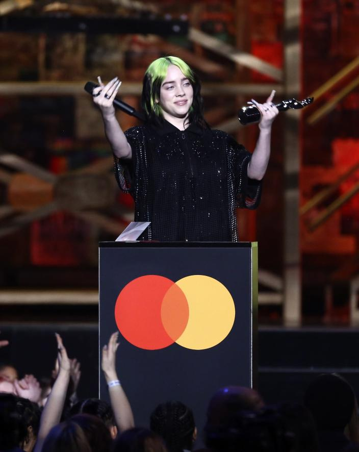 Billie Eilish was overcome with emotion acceoting the Brit Awards for International Female Solo Artist (AP)