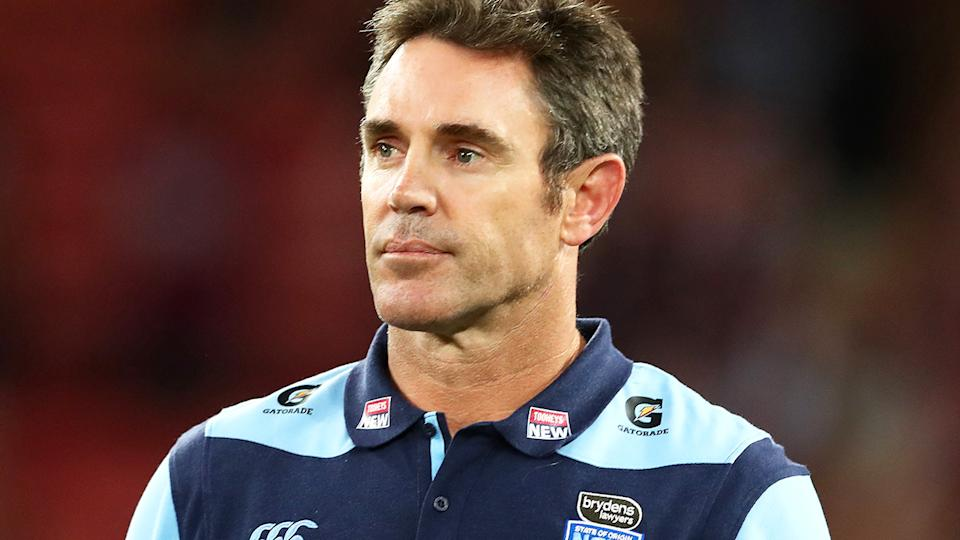 Brad Fittler, pictured here after losing the State of Origin decider at Suncorp Stadium.