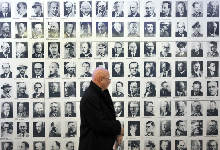 A wall featuring portraits of officers and other officials involved in the plot to assassinate Adolf Hitler in 1944 at the German Resistance Memorial Centre in Berlin