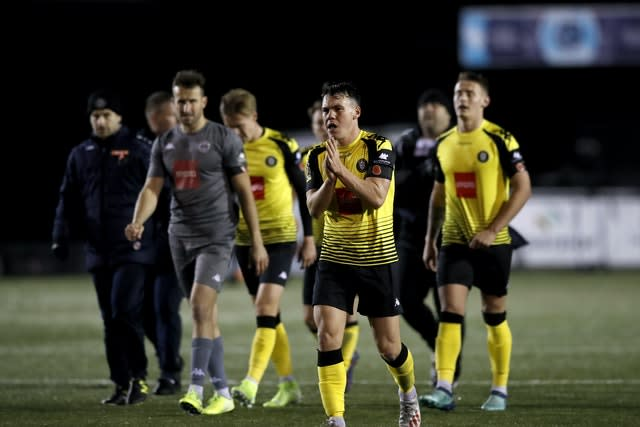 Will Harrogate, in second place in the National League when play was suspended, be denied a place in the Football League? (Martin Rickett/PA)
