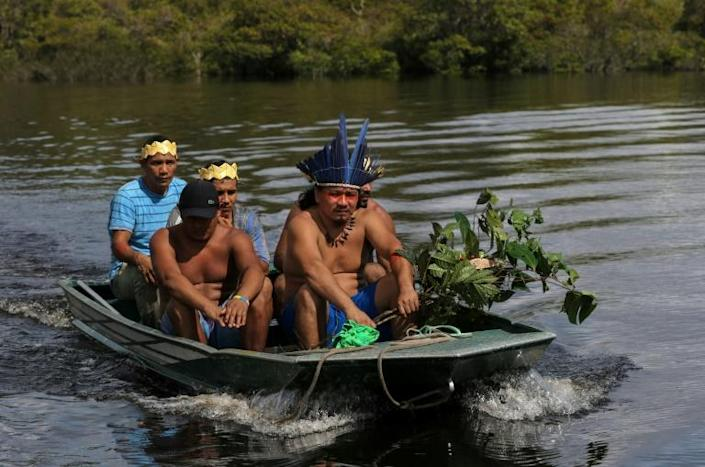 Satere mawe healers return to their community in Brazil's Amazonas state, after collecting herbs to be used in treatments for symptoms of COVID-19 (AFP Photo/Ricardo OLIVEIRA)