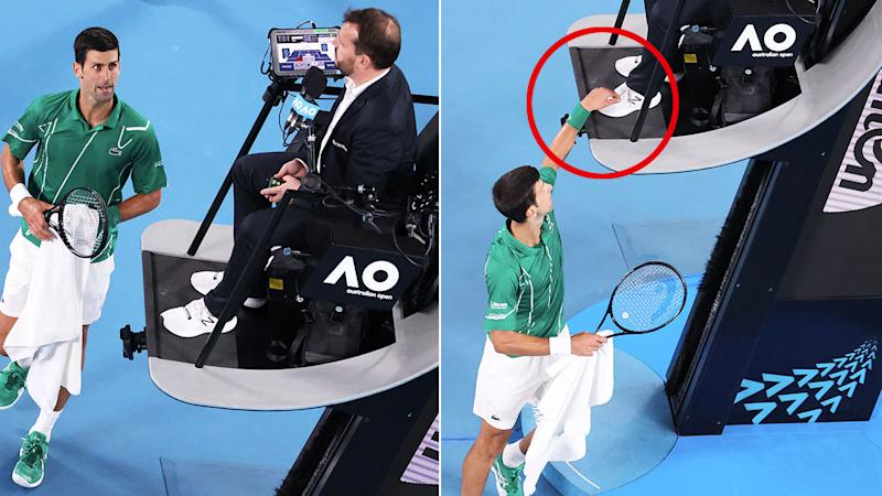 Pictured here, Novak Djokovic sparked controversy after a fiery exchange with the chair umpire.