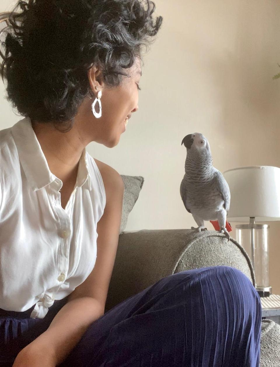Lenah Alshowaiman of New York City lost her African grey parrot and a stranger reunited them. (Photo: Courtesy of Lenah Alshowaiman)