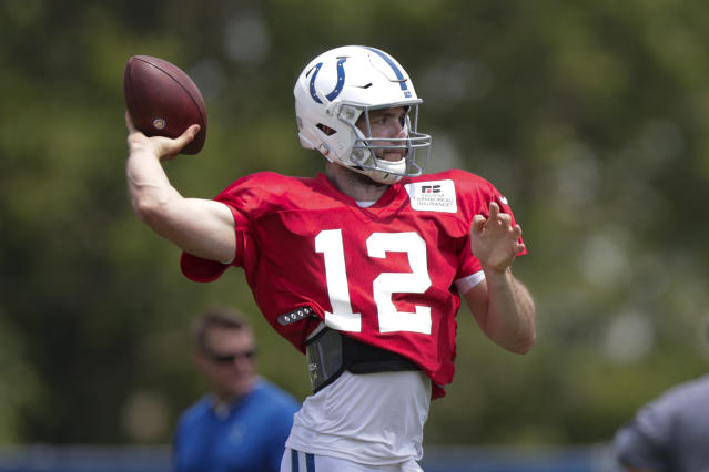 Andrew Luck early in camp, before he was shut down with an ankle issue. (AP)