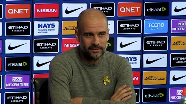 Manchester City manager Pep Guardiola pre-match press conference v Stoke - Talking about Man Utd v Liverpool