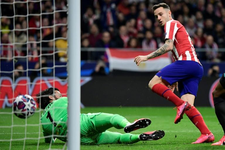 Saul Niguez (right) scored the only goal as Atletico Madrid beat Liverpool 1-0 (AFP Photo/JAVIER SORIANO)