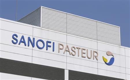 A view shows the logo of Sanofi Pasteur on a building at the French drugmaker's vaccine unit Sanofi Pasteur plant in Neuville-sur-Saone, near Lyon