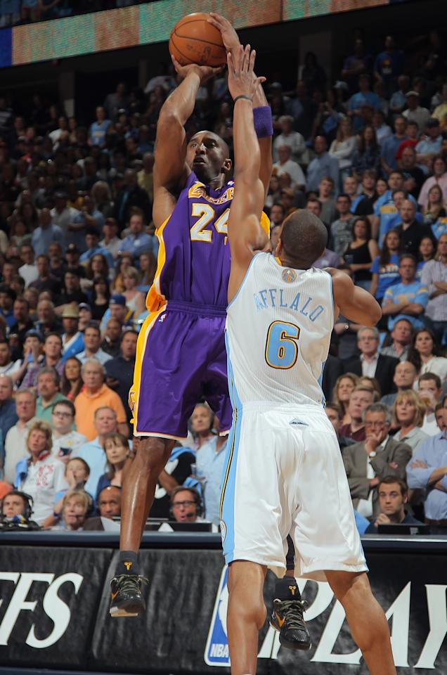 DENVER, CO - MAY 04:  Kobe Bryant #24 of the Los Angeles Lakers takes a shot over Arron Afflalo #6 of the Denver Nuggets in Game Three of the Western Conference Quarterfinals in the 2012 NBA Playoffs at Pepsi Center on May 4, 2012 in Denver, Colorado. NOTE TO USER: User expressly acknowledges and agrees that, by downloading and or using this photograph, User is consenting to the terms and conditions of the Getty Images License Agreement.  (Photo by Doug Pensinger/Getty Images)