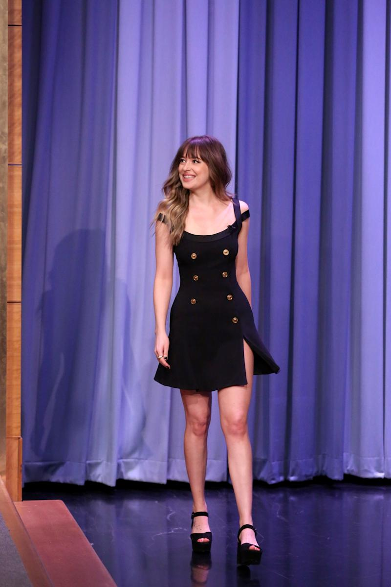 Who: Dakota Johnson What: Versace Where: On The Tonight Show Starring Jimmy Fallon When: January 29, 2018